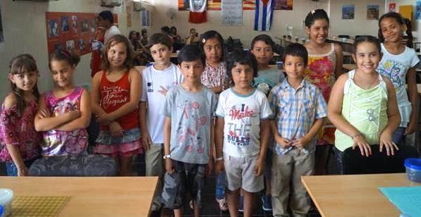 Participants at the 2014 Cuba-Mexico primary school go exchange.