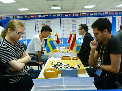 Jakob Bing (Sweden) playing Jeremie Hertz (Luxembourg) in round one